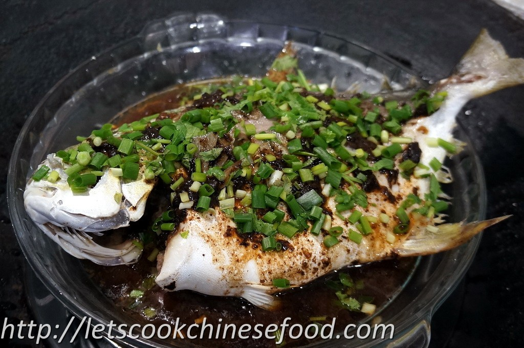 Chinese recipe steamed snubnose pompano with black bean for Pompano fish recipe