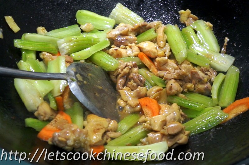 Add the stir-fried celery without the celery juice. (The celery ...